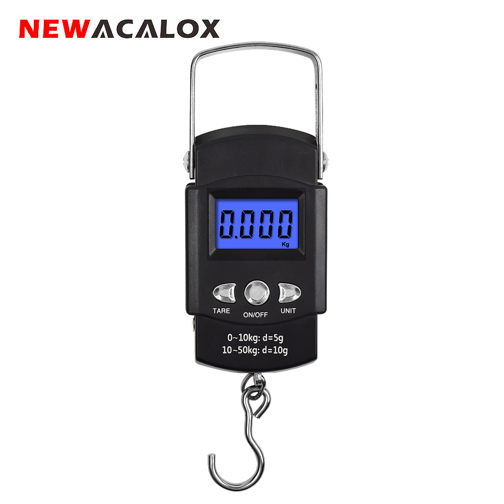 NEWACALOX 50kg X 10g Portable Digital Luggage Scale For Travel Fishing Weighing Electronic Hook Steelyard Scales Weighing Tools