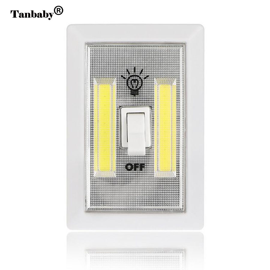 tanbaby cob led night light portable battery powered emergency switch cordless lamp for wardrobe camping kitchen