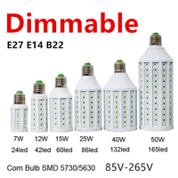D50 5pcs/lot Dimmable 5730 98LED 30W LED Lamp Lighting E27 E26 B22 E14 85 265V Lampada LED Light Dimming Corn Bulbs Spotlight