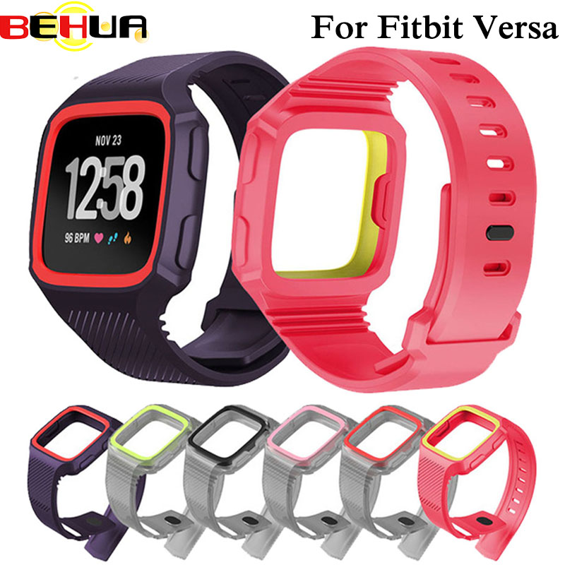 2in1 Silicone For Fitbit Versa Wristband Wrist Strap With Full Protective Case Cover Frame Watch Band Strap For Fitbit Versa