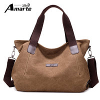 Amarte Woman Canvas Bags Casual Shoulder Bag Fashion Portable Big Tote Female Large Capacity Leisure Handbag