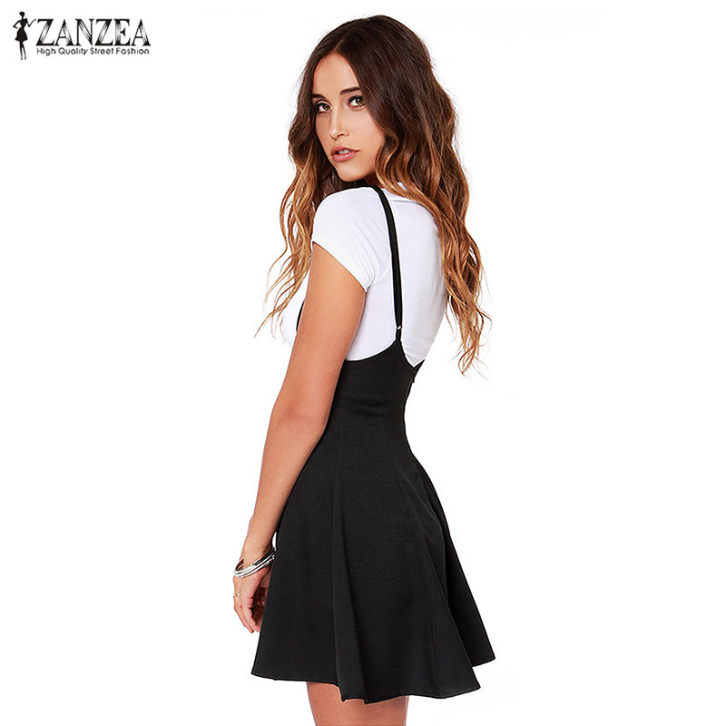 Fashion ZANZEA Women Skirts 2018 Black Skater Skirt With Shoulder Straps Pleated Hem Saia Femininos Braces Skirt Plus Size S-3XL