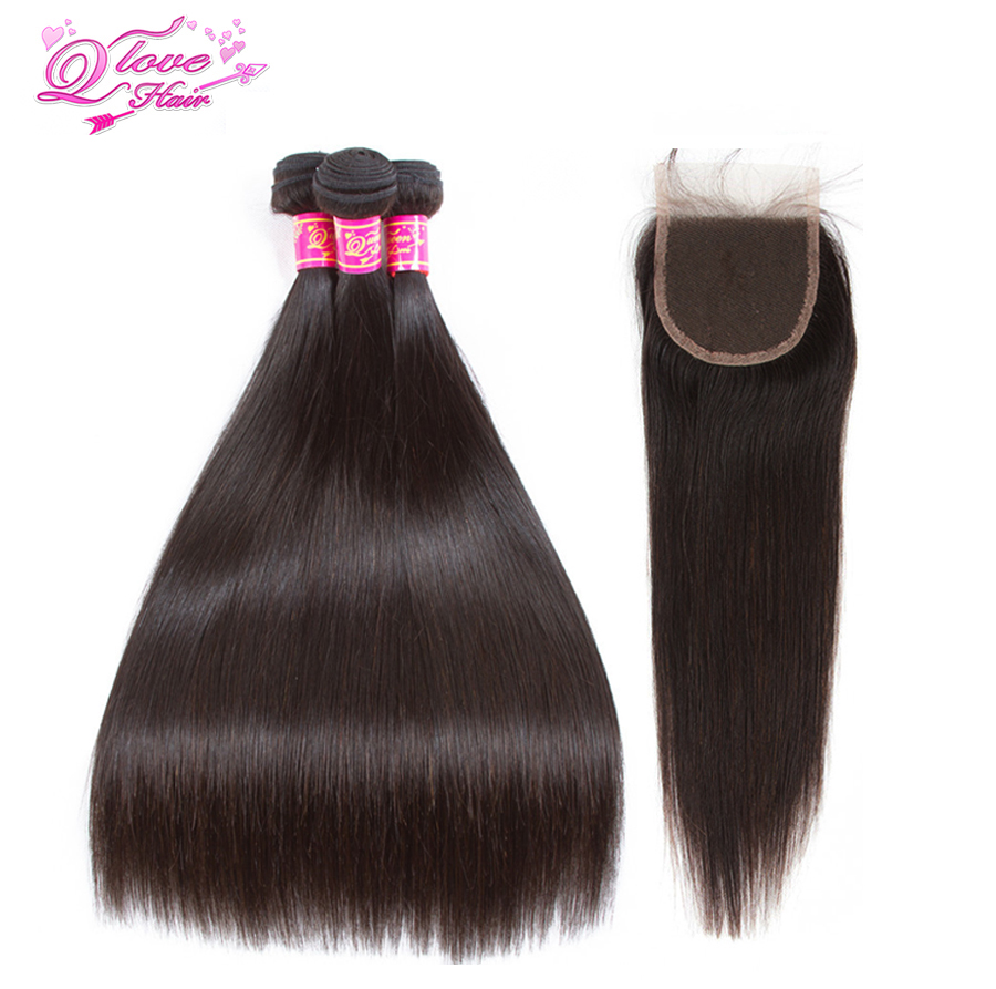 Queen Love Hair Malaysian Straight Human Hair Bundles With Lace Closure Natural Color 3 Bundles Hair Weaves 100% Remy Hair