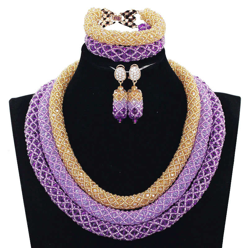 Elegant Purple and Gold African Women Jewelry Sets Nigerian Beaded Party Crystal Bridal Beads Necklace Set Free Shipping WE141 purple clear ab crystal african wedding beads nigerian beaded necklace jewelry set bridal party jewelry sets for women 10c sz30