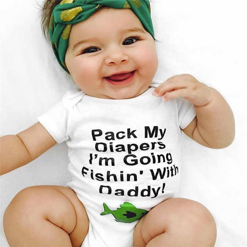 ベビーガールズボーイズ女の子幼児文字の魚半袖服ジャンプスーツロンパース # BL0