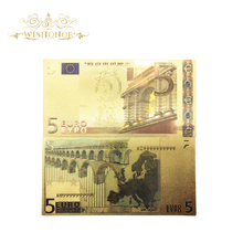 10pcs/Lot Nice Color Euro Gold Banknote 5 in Plated Money For Business Gifts and Collection