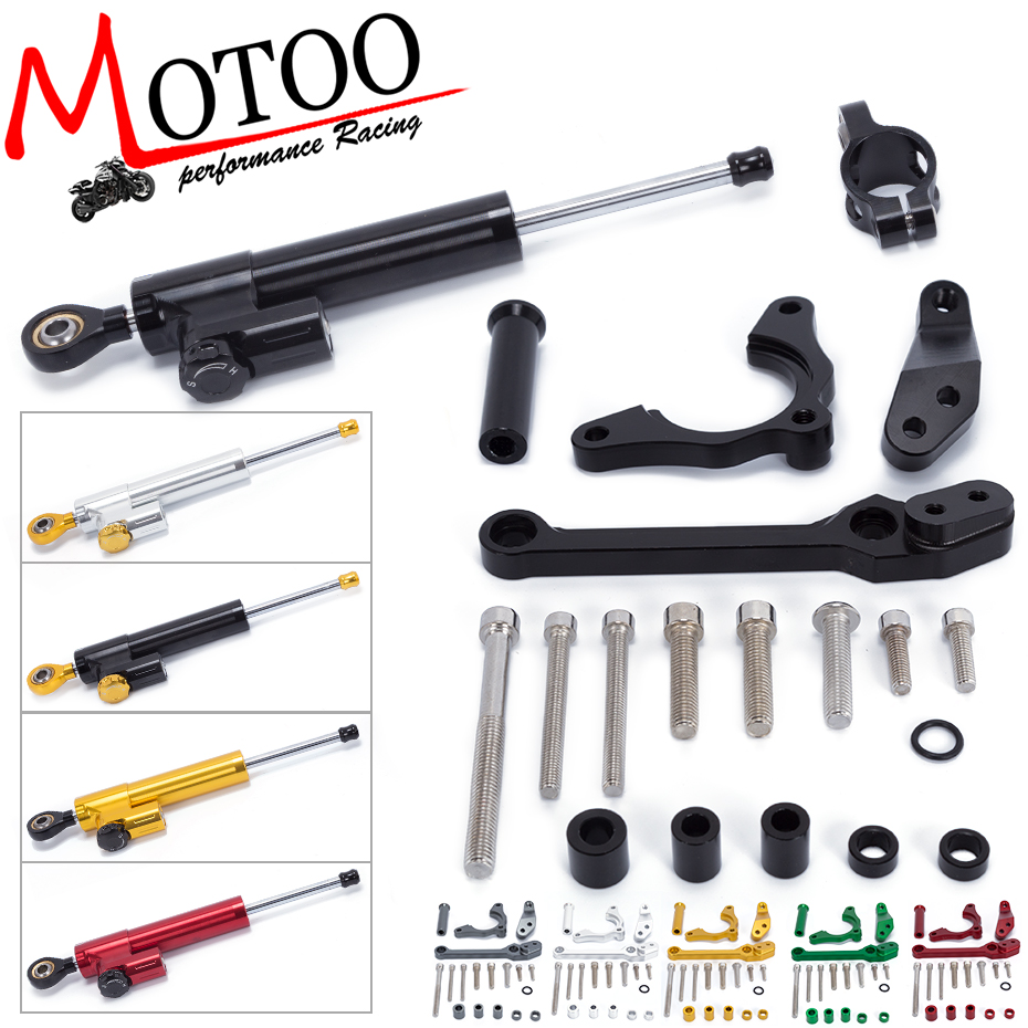 Фотография Motoo - FREE SHIPPING Motorcycle Aluminium Steering Stabilizer Damper With Mounting Bracket Kit For KAWASAKI Z900 Z 900 2017