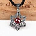 925 collares de plata y colgante stars forma granate colgante de piedra para las mujeres flor cortada encantos flotantes colgante de jade mujeres cadena
