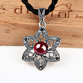 925 silver necklaces & pendant stars shape garnet stone pendant for women flower cut floating charms jade pendant females chain