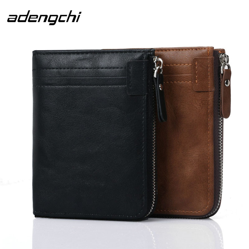RFID Protective Men Male PU Leather Bifold Short Wallets Casual Zipper Coin Purse Credit Bank ID Card Case Holder Large Capacity vintage genuine leather wallet men casual bifold wallets cash dollar credit id card holder purse zipper&rivet button carteira
