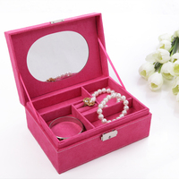 Guanya Promotional classical Velvet jewelry gift boxes pure color square fashion lady's choice lovely girl's jewel case