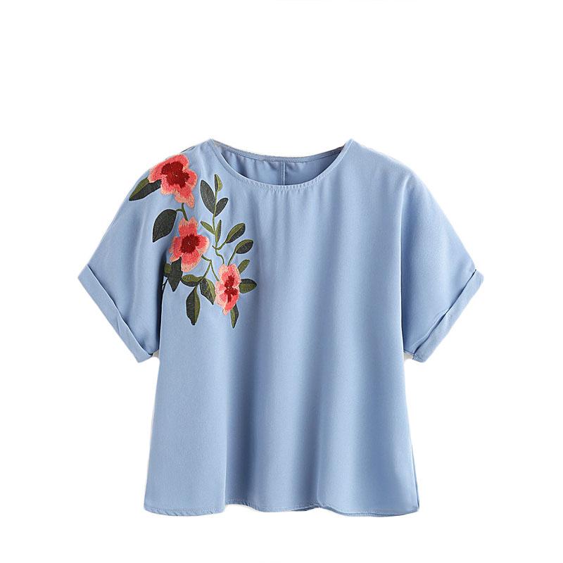 HTB1iyDDRXXXXXbuXFXXq6xXFXXXN - Flower Embroidered Summer Blue Short Sleeve Shirt PTC 166