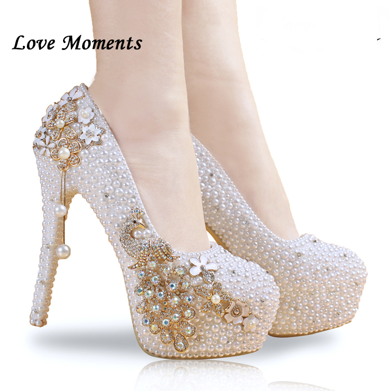 Crystal wedding shoes pearl handmade bridal shoes women s Pumps peacock rhinestone female high heels platform
