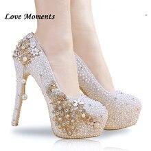 55e318898 Zapatos de boda de cristal perla de novia hechos a mano zapatos de mujer  bombas de