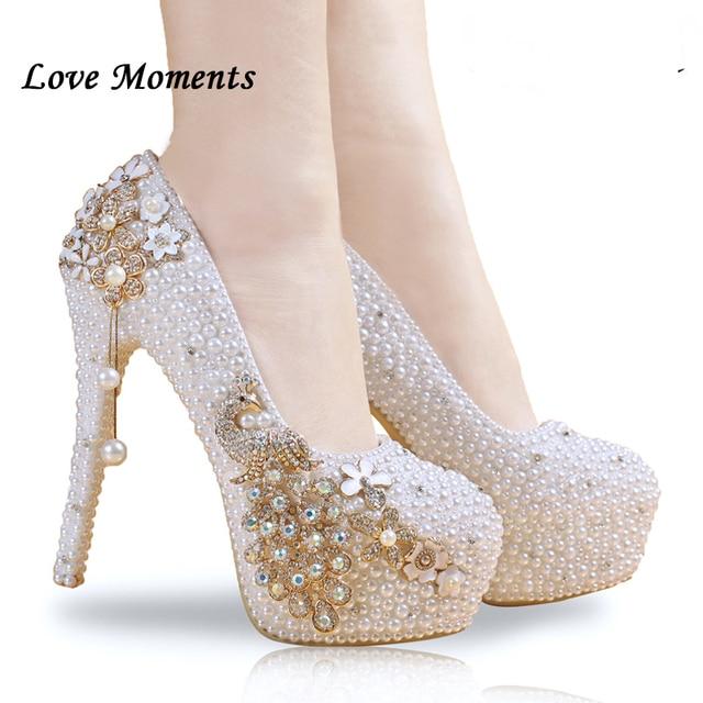 Crystal Wedding Shoes Pearl Handmade Bridal Shoes Womenu0027s Pumps Peacock  Rhinestone Female High Heels Platform Shoes