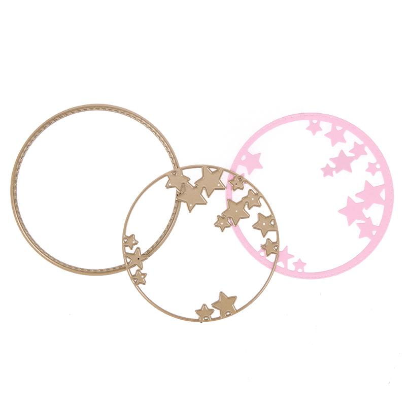 2pcs Gold Circle Stars Metal Cutting Dies Stencils for DIY Scrapbooking Cards Photo Album Decorative Embossing Craft Dies Cut