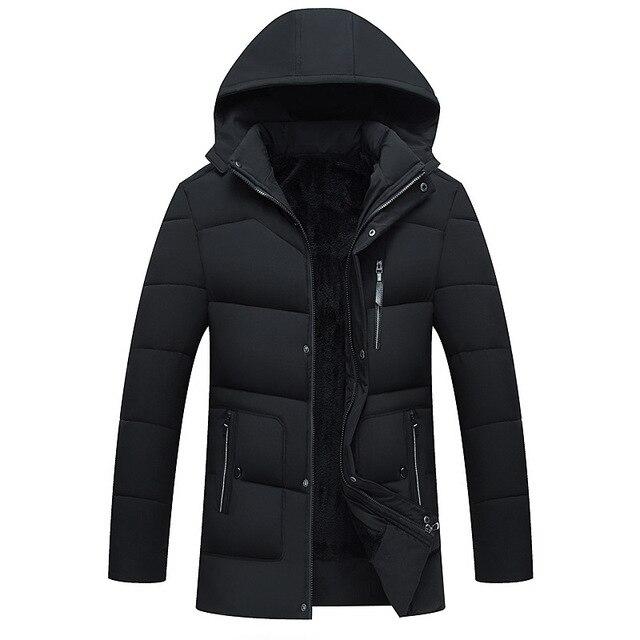 2019 Hot Moda Com Capuz Homens Casaco de Inverno de Espessura Quente Presente do Pai Dos Homens Jaqueta de Inverno Parka casacos amassado masculino jaqueta outerwear fre