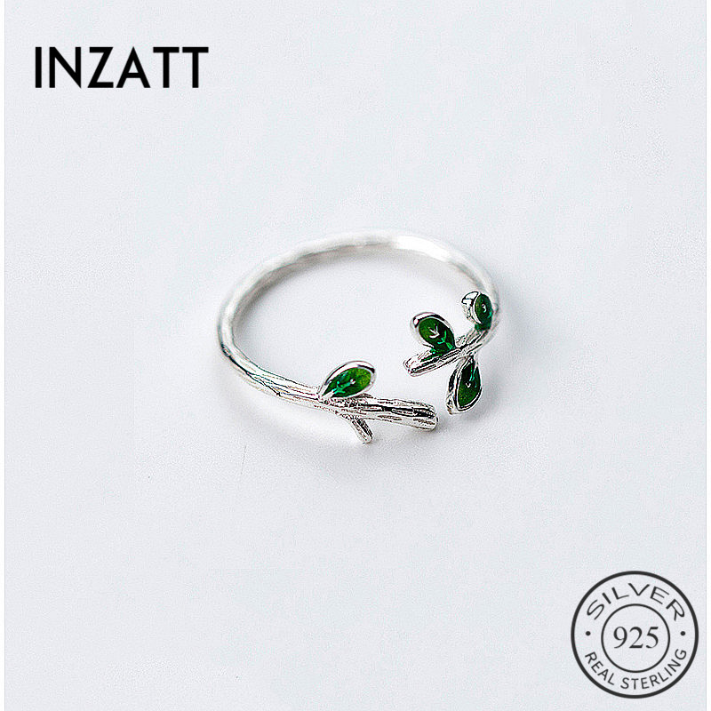 INZATT Trendy 925 Sterling Silver Green Enamel Leaves Vintage Adjustable Ring Fine Jewelry For Women Cute Party Accessories Gift