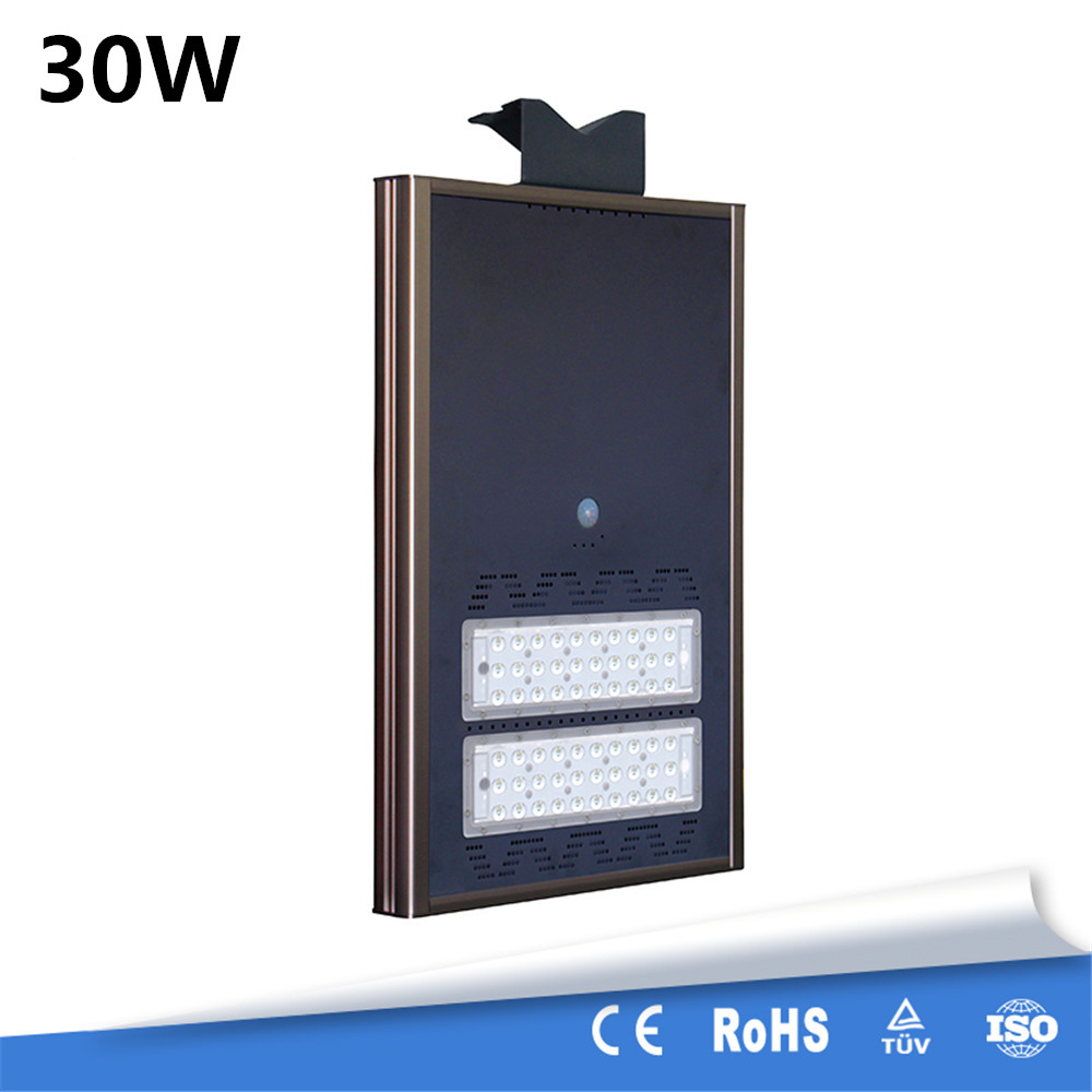 High Quality New Upgraded 30W All In One Energy Saving High Brightness Motion Sensor LED Solar Street Light Outdoor Waterproof