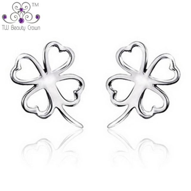 6e495968b Wholesale Lots Real 925 Pure Sterling Silver Elegant Lovely 4-leaf Clover  Stud Earrings For Women Girls Wedding Party Jewelry