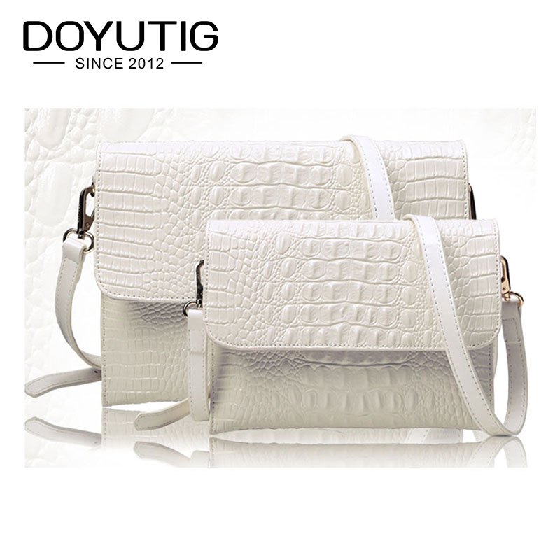 Crossbody Purses Handbags Envelope Crocodile-Pattern White Genuine-Leather Evening Women
