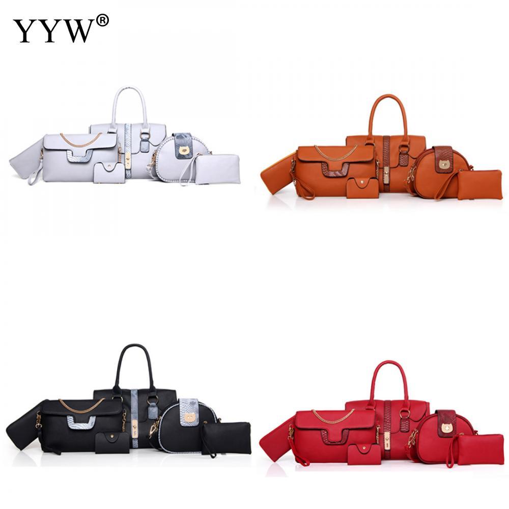 6 Sets Women Chain Handbag Shoulder Bag Ladies Luxury Medium Big Tote zipit сумка medium shoulder bag