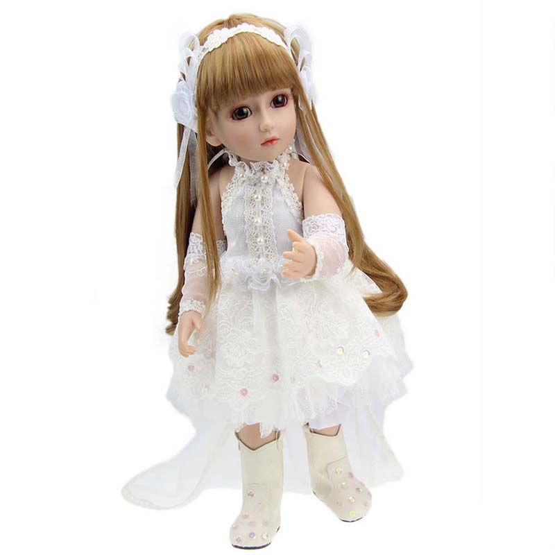18 SD BJD Dolls American Girl Joint Doll Handmade Realistic Baby Princess with White Princess Dress Baby Lifelike Dolls princess dress for 18 inches american girl doll children bjd baby born dolls handmade accessories toy christmas birthday gift