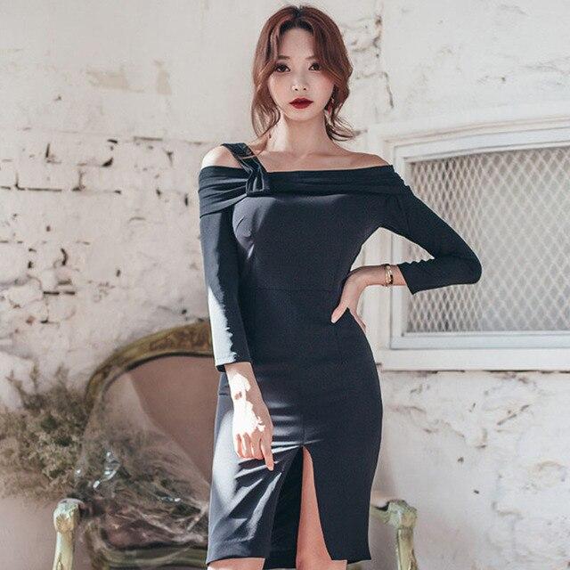 4b07806c7d7 Fashion Korea Style Sexy Dress Women Off Shoulder Straight Collar Design  Package Hip Sexy Black Dresses Spring 2017 vestido