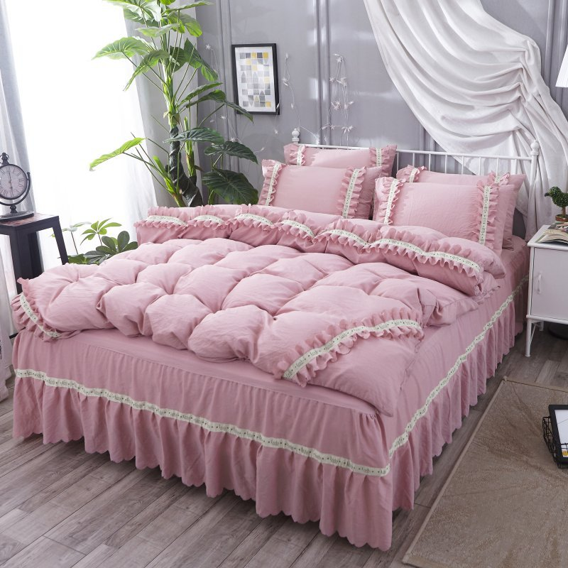 Princess Style Bedding Sets 4 pcs Romantic Korea Duvet Cover Pillowcases Bed sheet Lace edge