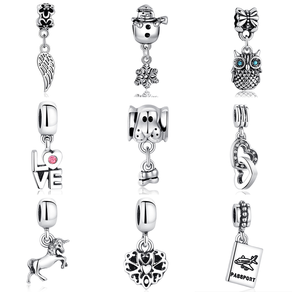FOREWE Fit Pandora charms Bracelets Original Silver Beads Animal Owl Horse Feather Love Heart Dog Pendant DIY Jewelry Making