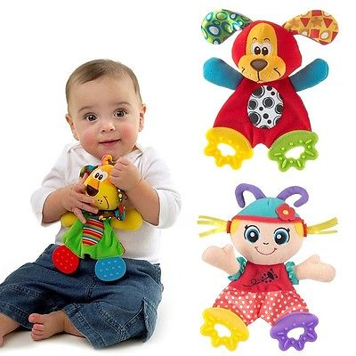 NEW 3 Styles Baby Infant Soft Appease Towel Toys Playmate Calm Doll With Teether Developmental Lion Dog Plush Toy