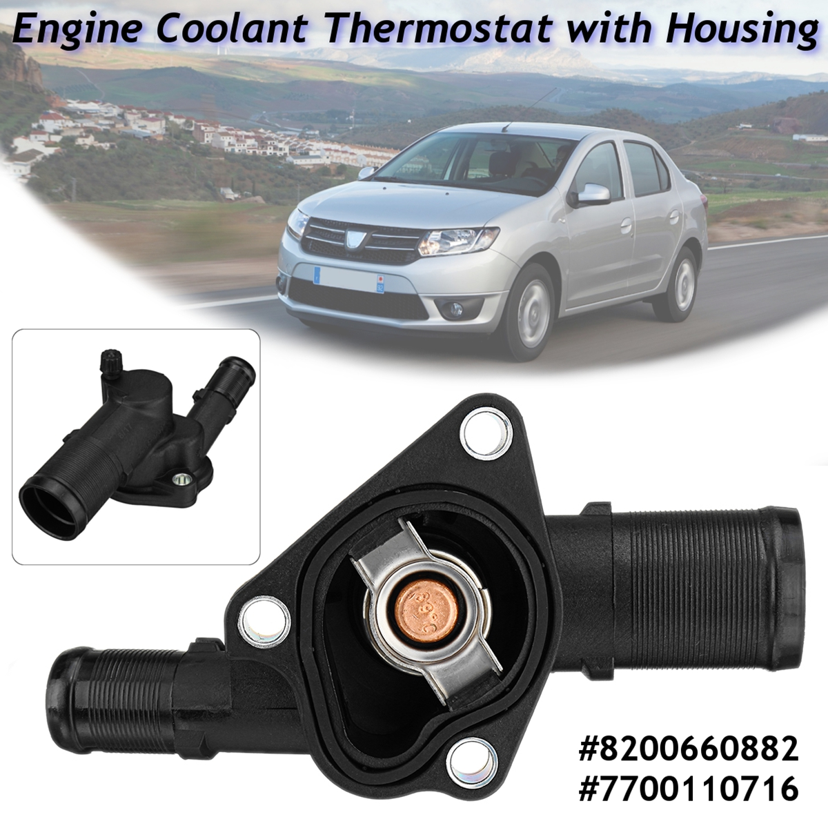 For Renault Clio Kangoo Twingo Dacia Logan Sandero Nissan Engine Coolant Kubistar 8200660882 Thermostat With Housing In Thermostats Parts From