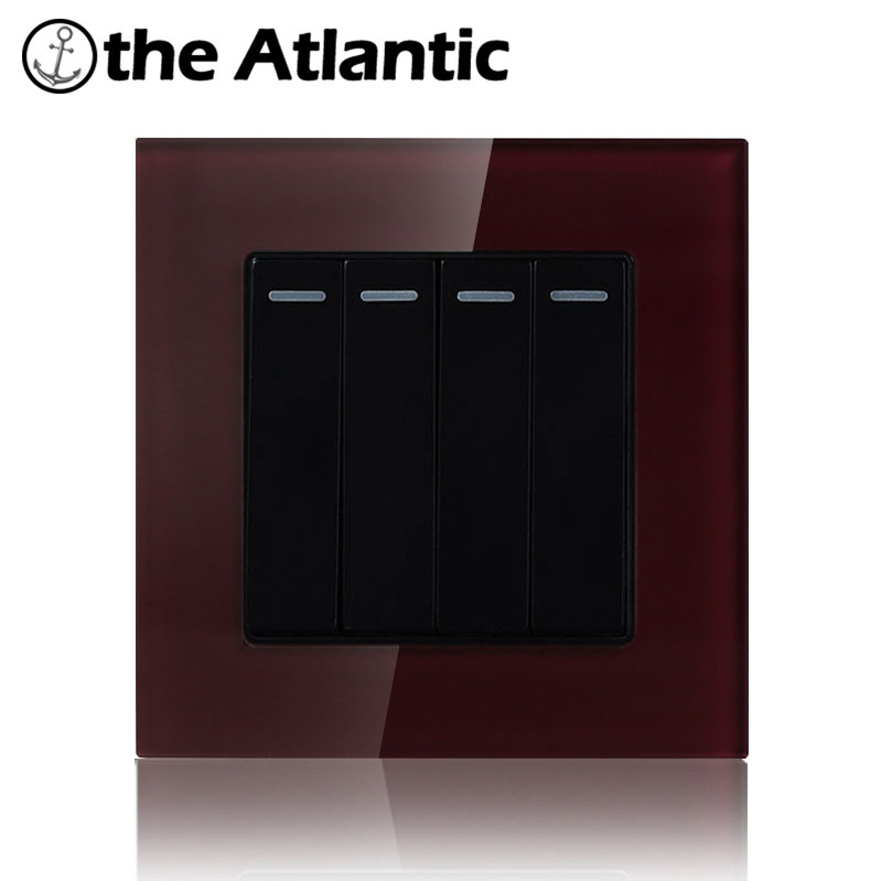 Atlantic 4 Color To Choose 16A 4 Gang 1 Way  Hotel Luxury Crystal Tempered Glass  Universal UK EU Push Button Light Wall Switch палатка сплав atlantic 4 цвет зеленый