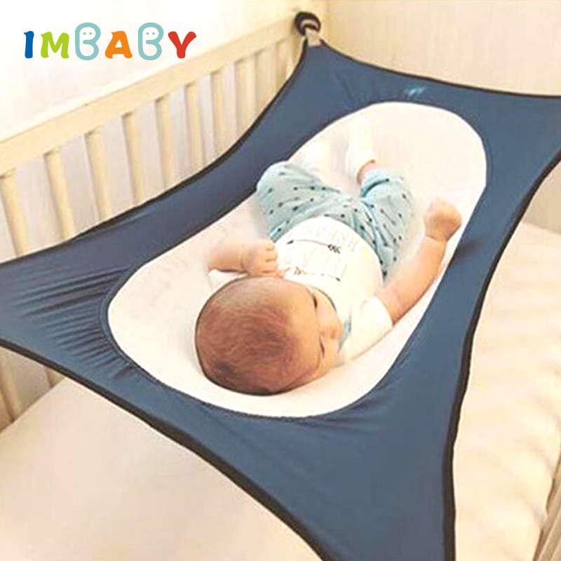 Imbaby Infant Baby Hammock For Newborn Kid Sleeping Bed Safe Detachable Baby Cot Crib Elastic Hammock With Adjustable Net
