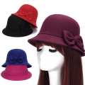 Europe England Korean Fall Winter Women's Fedora Caps Vintage Sun Hats For Woman Lady Wide Brim Wool Felt Bowknot Hat For Women