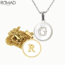 ROMAD Gold Letter Necklace Women Men 26 Initial Pendant Necklaces Stainless Steel Choker Shell Rapper Party Jewelry R5