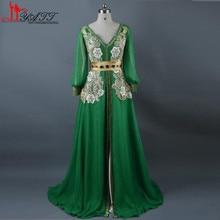 Moroccan Caftan Kaftans Green Evening Dress Long Sleeve Arabic Abaya Islamic Clothing for Women Kheleeji Jalabiy
