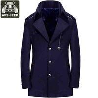 New Brand Trench Coat Men Long Mens Coat Wool Men's Long Trench Coats Fashion Manteau Homme Plus Size M 3XL Men Trench