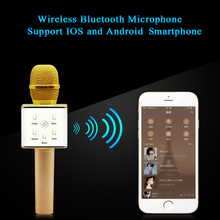 Karaoke Micrófono Inalámbrico portátil Bluetooth Q7 Altavoz Bluetooth Estéreo Receptor Jugador KTV Cantar Soporte IPhone IOS Android