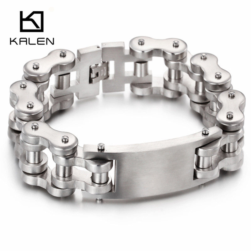 Kalen 316L Stainless Steel Link Chain Brushed Bracelet & Bangle 2017 New Punk 23cm Hand Bracelet Hip Hop Men's Accessories Gift
