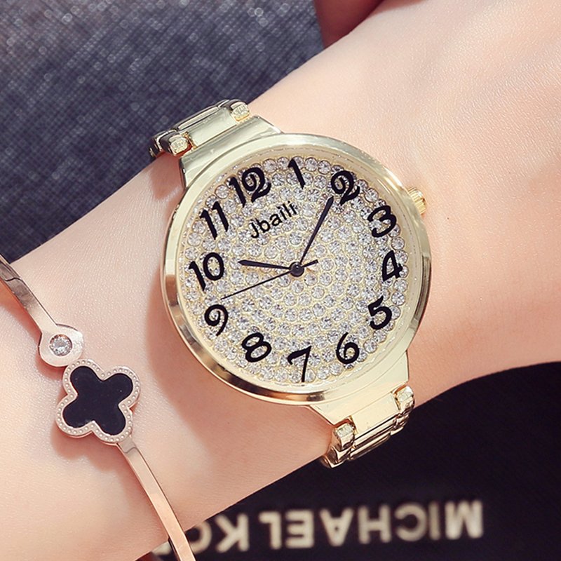 809eb0313d59 Moda de Plata de Oro Rhinestone Mujeres Relojes de Cuarzo Estilo Simple  Relojes Señoras Reloj de Pulsera Elegante Reloj Con Caja de Regalos envíos  gratuitos ...