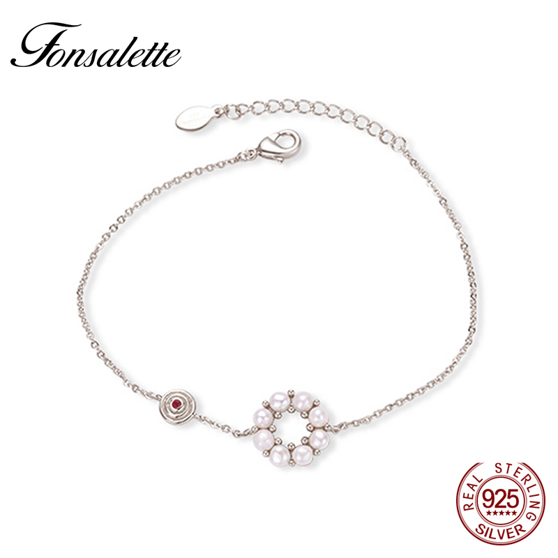 Vintage S925 Fteshwater Cultured Pearl Bracelet Ruby Gem Round Sunflower Chain Link Bracelets For Women Jewelry ZK40