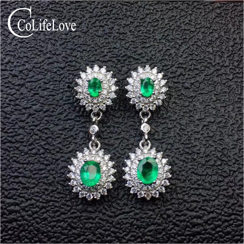 Dazzling emerald drop earrings for evening party 4 pcs real natural emerald earrings solid 925 silver emerald jewelry girl gift
