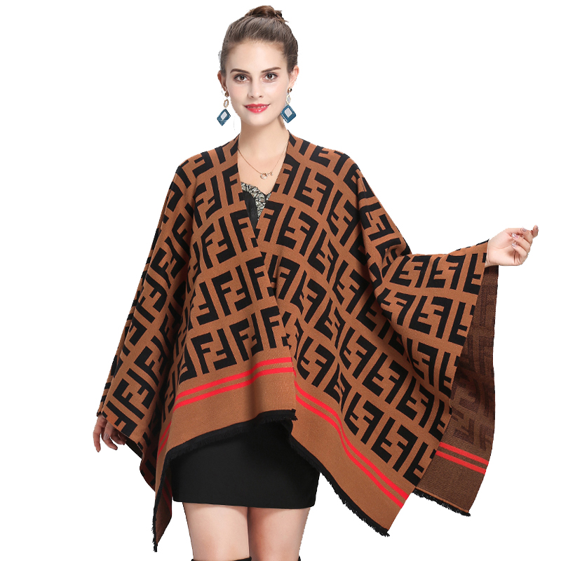 New Loose Large Letter Jacquard Contrast Color Sweater Capes Women's Shawl Irregular Cloak Scarf Cashmere Shawl Fashion Ponchos