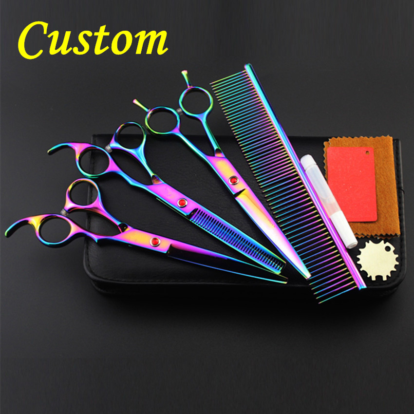 Custom 4 kit Professional japan 440c pet 8 inch shears dog grooming hair scissors cutting thinning barber hairdressing scissors 4 kit professional 8 inch pink pet grooming shears cutting hair scissors case dog grooming thinning barber hairdressing scissors