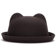 Beautiful Design Women Stylish Imitate Wool Cat Ears Bowler Bucket Hat Wedding Party Cap