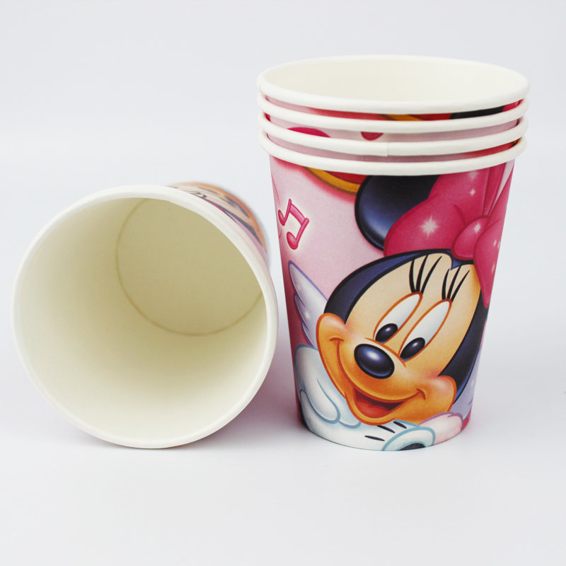 12pcs happy birthday party decoration disposable tableware paper cups Minnie Mouse cartoon pattern Kids Party supplies