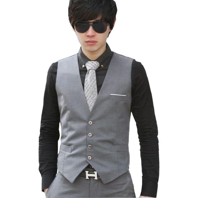 2017 New Fashion Formal Men Suit Vests Brand Quality Slim Fit Solid Color Business Office Dress