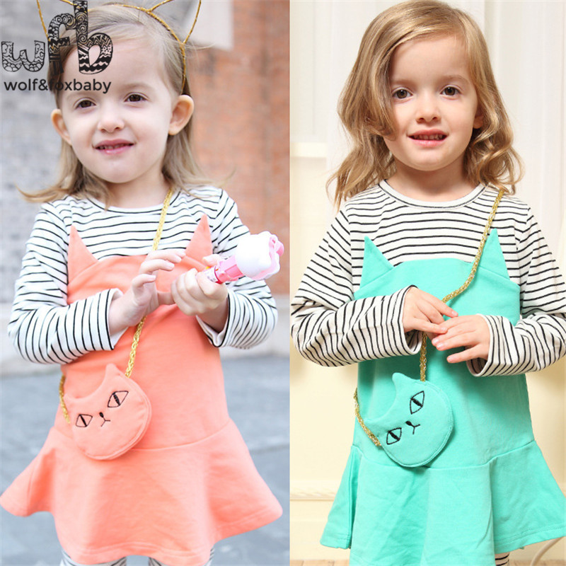 1-4years girls 2pcs/set cartoon bag cat baby kids children dress Clothing  clothes Infant Garment sport suit spring autumn fall fashion kids baby girl dress clothes grey sweater top with dresses costume cotton children clothing girls set 2 pcs 2 7 years