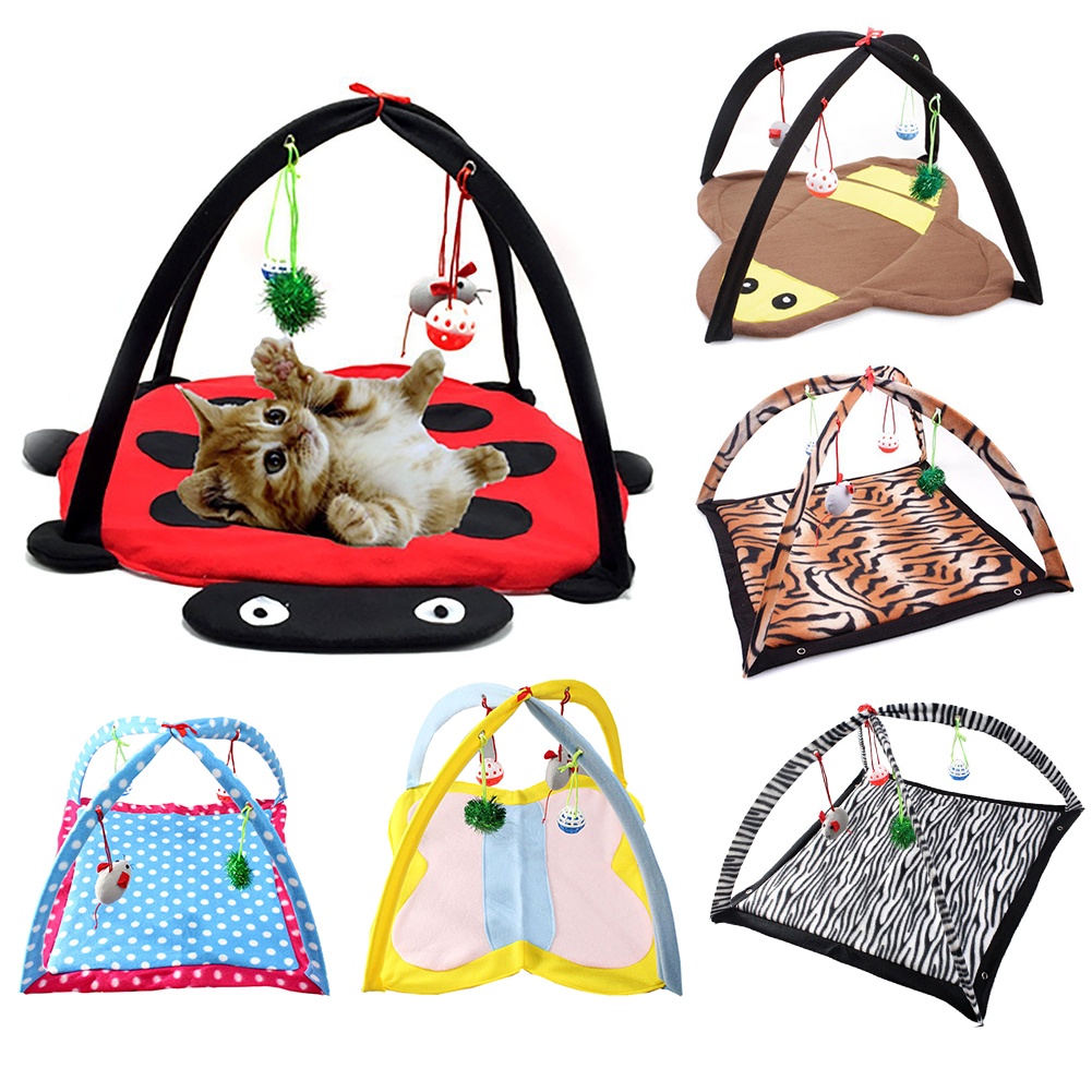 Pet Cat Hammock Foldable Hanging Bed Soft Fleece Breathable Tent Mat Dog House with Ball Bells Kitten Playing Toys